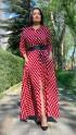 Küp Desen Gömlek Elbise - KIRMIZI