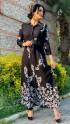 Yaprak Desen Deri Kemer Gömlek Elbise - SİYAH