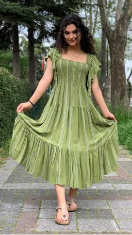 Omuz Fırfır Gipeli Elbise - YEŞİL