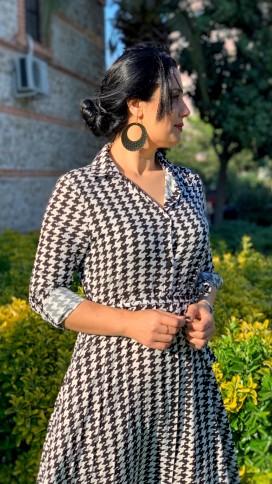 Kaz Ayağı Gömlek Elbise - SİYAH