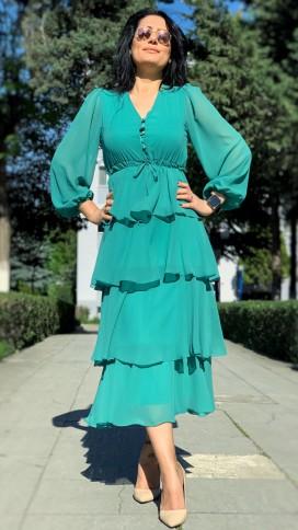 Eteği Kat Yaka Düğmeli Elbise - MİNT