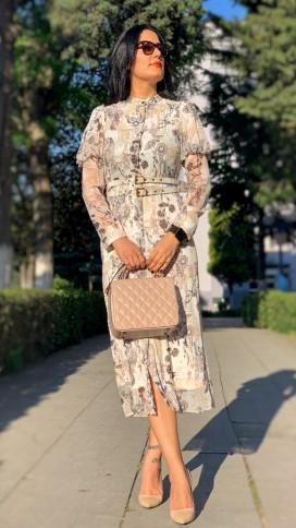 Karpuz Kol Şifon Elbise - BEJ