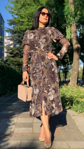 Karpuz Kol Şifon Elbise - KAHVERENGİ