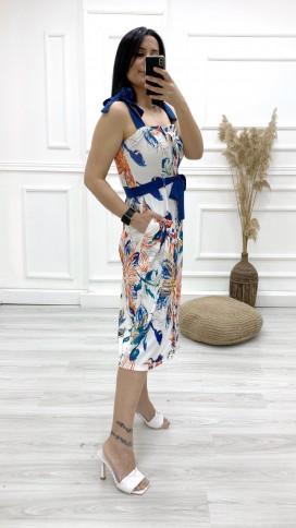Omuz Bağlamalı Cepli Elbise - BEYAZ