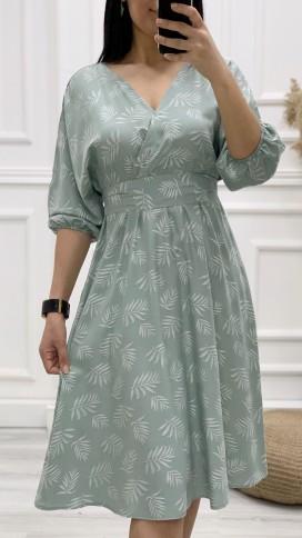 Kruvaze Yarasa Kol Elbise - TURKUAZ