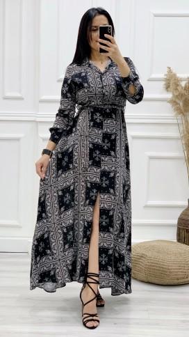 Etnik Desen Gömlek Elbise - SİYAH