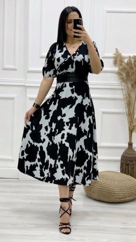 Milka Desen Kemerli Elbise - SİYAH