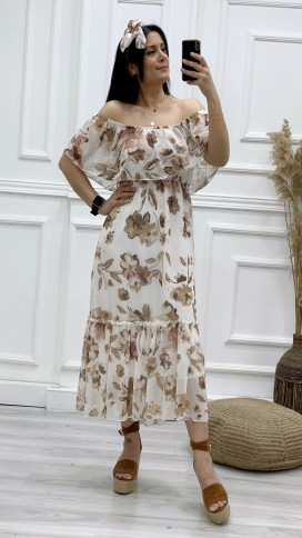 Madonna Yaka Şifon Elbise - Bej