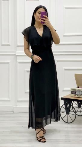 Yakası Fırfır Kruvaze Şifon Elbise - SİYAH