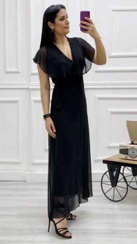 Yakası Fırıfr Kruvaze Şifon Elbise - SİYAH
