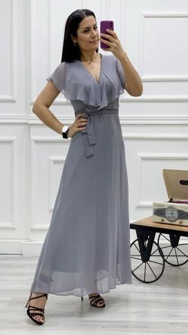 Yakası Fırfır Kruvaze Şifon Elbise - GRİ