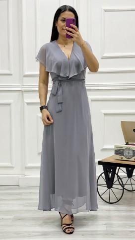 Yakası Fırıfr Kruvaze Şifon Elbise - GRİ
