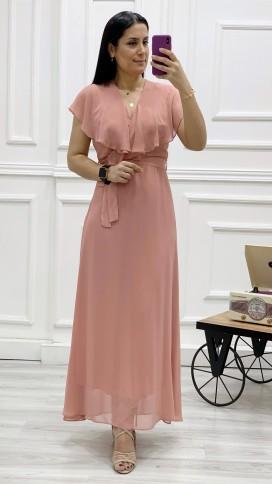 Yakası Fırfır Kruvaze Şifon Elbise - PUDRA