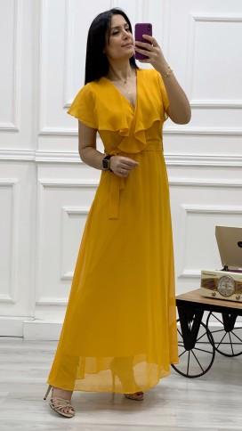 Yakası Fırfır Kruvaze Şifon Elbise - HARDAL