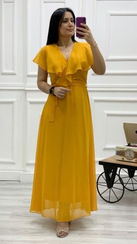 Yakası Fırıfr Kruvaze Şifon Elbise - HARDAL