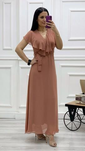 Yakası Fırıfr Kruvaze Şifon Elbise - GÜL KURUSU