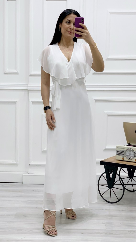 Yakası Fırıfr Kruvaze Şifon Elbise - BEYAZ