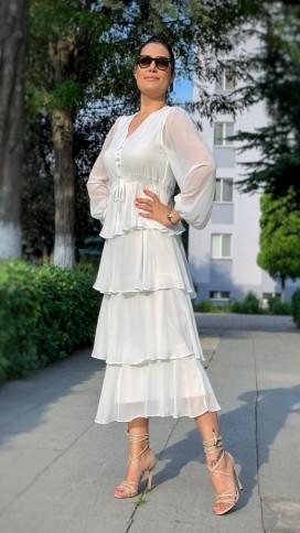 Eteği Kat Yaka Düğmeli Elbise - BEYAZ