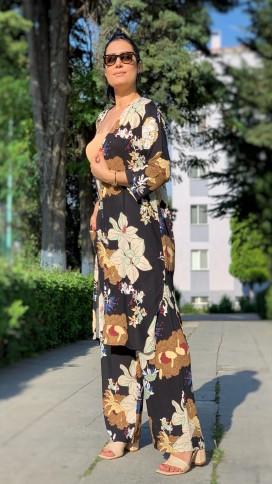 Uzun Kimono Takım - SİYAH