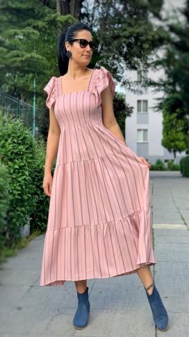 Omuz Fırfır Gipeli Elbise - PUDRA