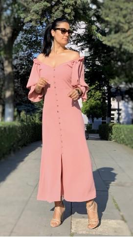 Fakir Kol Düğmeli Yırtmaçlı Elbise - PUDRA