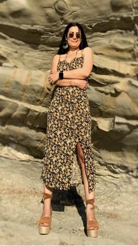Çift Askılı Yırtmaçlı Elbise - SARI