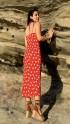 Çift Askılı Yırtmaçlı Elbise - KIRMIZI