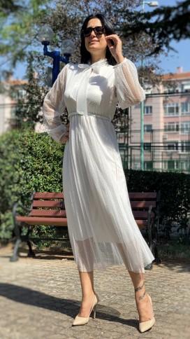Boyundan Bağlı Güpür Elbise - BEYAZ