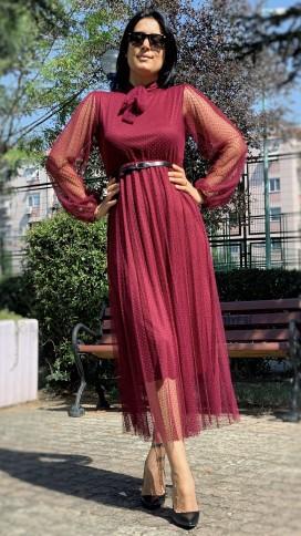 Boyundan Bağlı Güpür Elbise - BORDO