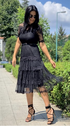 Kemerli Güpür Elbise - SİYAH