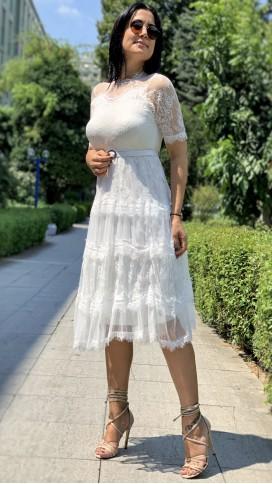 Kemerli Güpür Elbise - BEYAZ