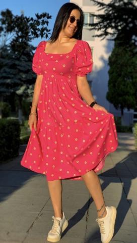 Kare Yaka Papatyalı Elbise - PEMBE