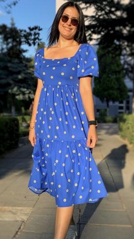 Kare Yaka Papatyalı Elbise - MAVİ