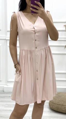 Omuz Detay Düğmeli Orjinal Elbise - PUDRA