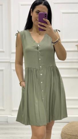 Omuz Detay Düğmeli Orjinal Elbise - HAKİ