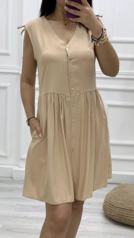 Omuz Detay Düğmeli Orjinal Elbise - BEJ