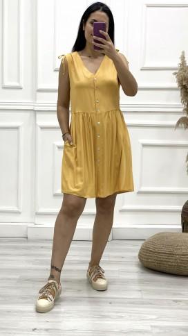 Omuz Detay Düğmeli Orjinal Elbise - SARI