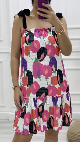 Omuz Bağlamalı Salaş Elbise - BEYAZ