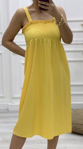Gipeli Askılı Elbise - SARI