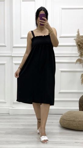 Gipeli Askılı Elbise - SİYAH