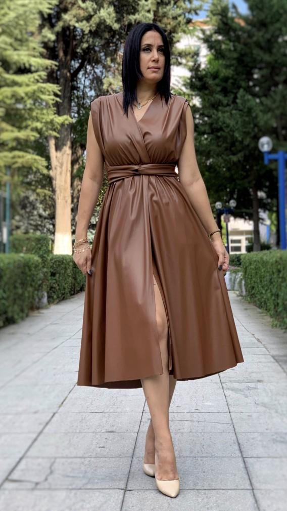 Kruvaze Yırtmaçlı Deri Elbise - TABA