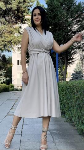 Kruvaze Yırtmaçlı Deri Elbise - TAŞ RENGİ