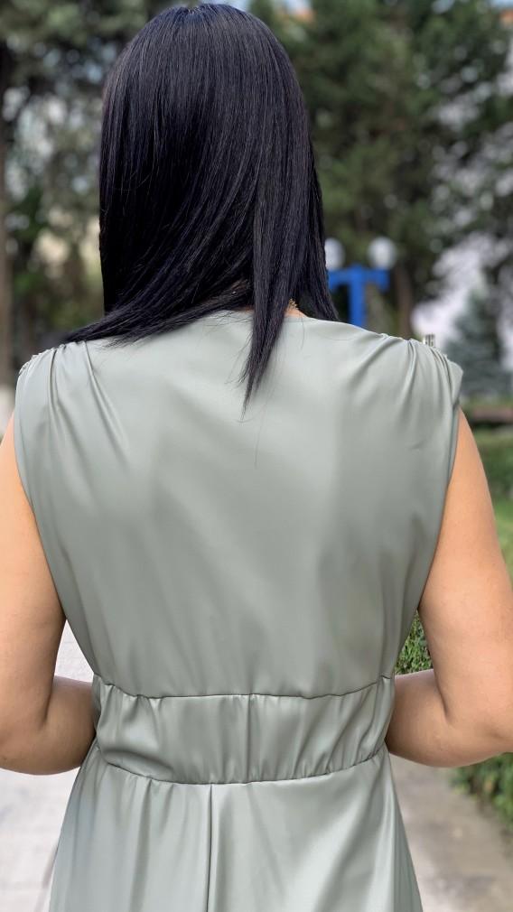 Kruvaze Yırtmaçlı Deri Elbise - MİNT